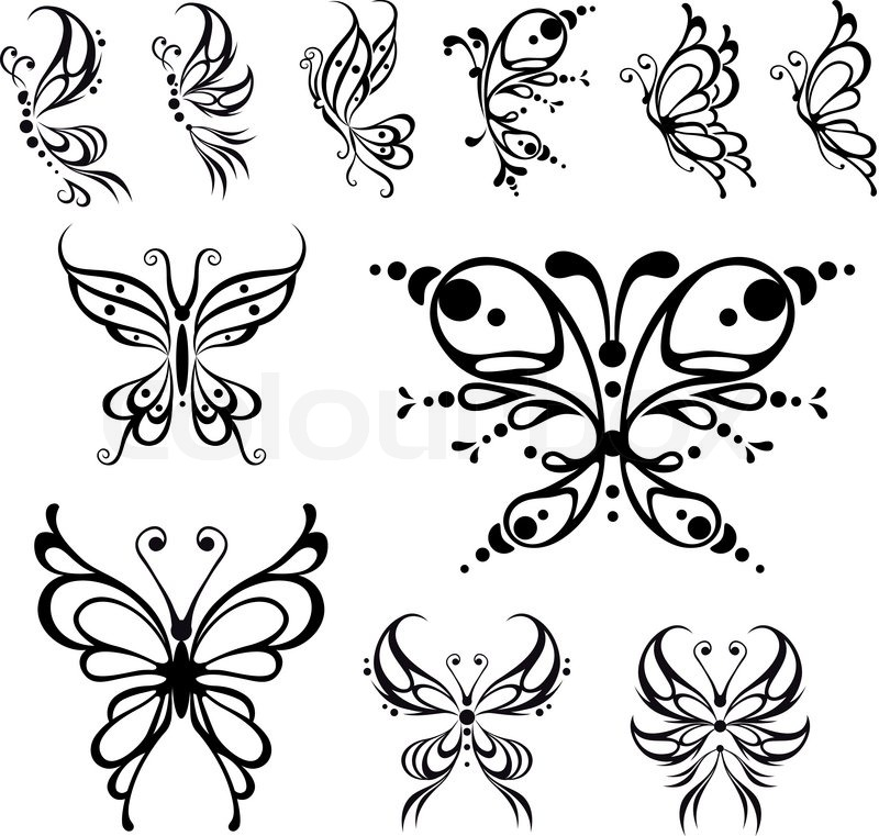 schmetterling tattoo vektorgrafik colourbox. Black Bedroom Furniture Sets. Home Design Ideas
