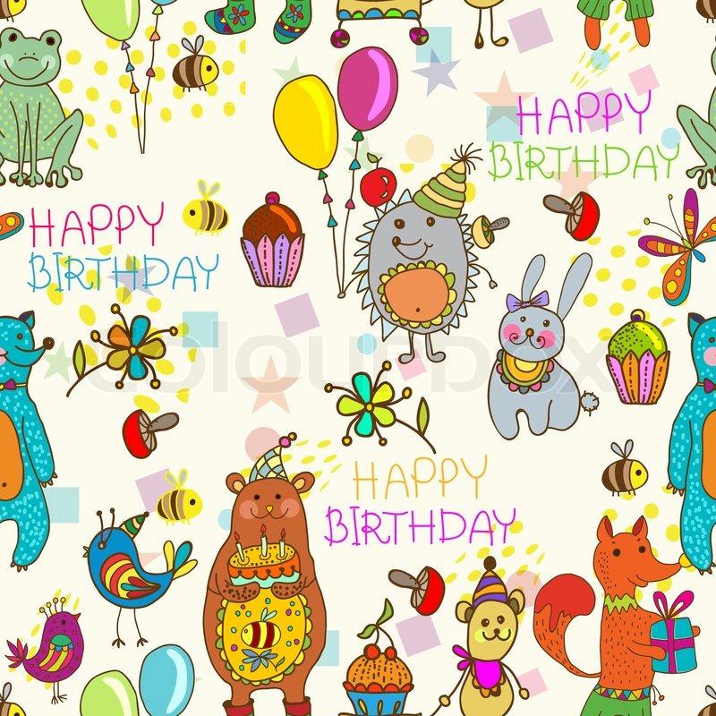 Seamless Happy Birthday Cartoon Background Stock Photo