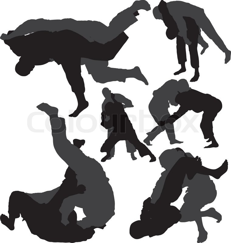 Jiu-Jitsu and Judo wrestlers vector     | Stock vector | Colourbox