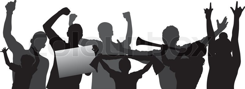 Dynamic Sports Figures Silhouette: Cheering Crowd Or Sports Fans Vector ...