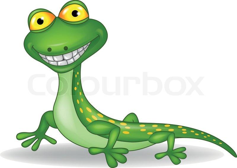 Vector Illustration Of Funny Lizard Cartoon