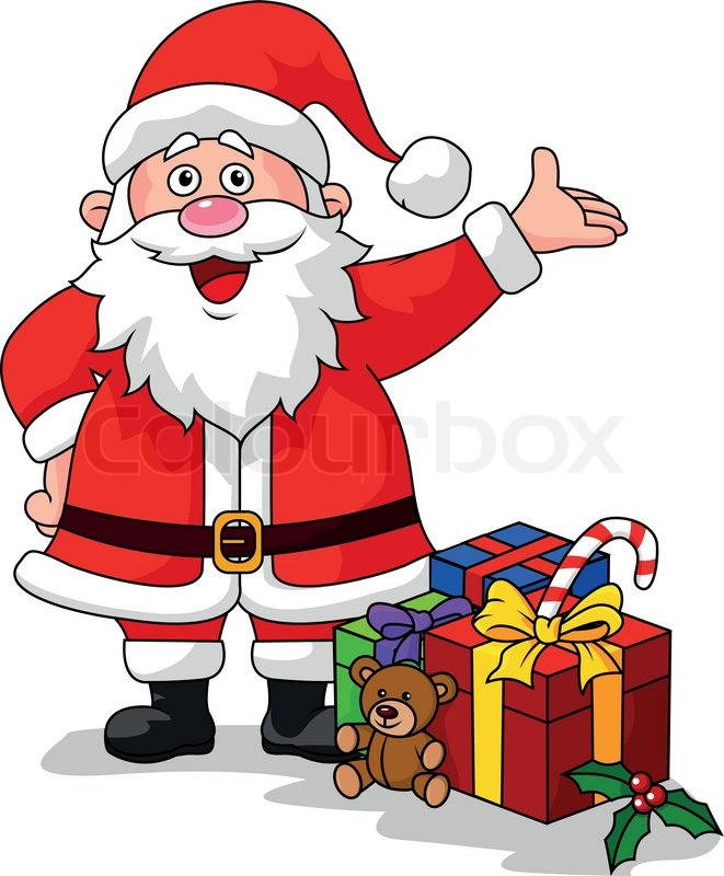 vector illustration of santa cartoon with gifts stock