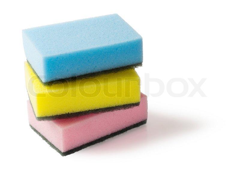 drei bunte schwämme  stockfoto  colourbox ~ Geschirrspülmaschine Dreckig