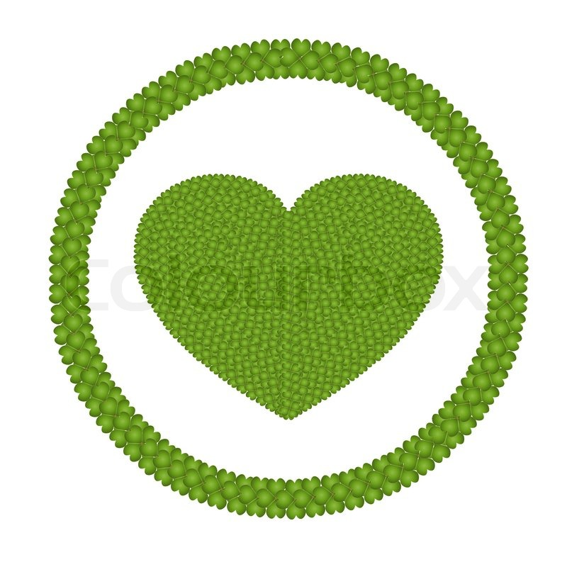 A Four Leaf Clover Of Heart Shape In Circle Frame Stock