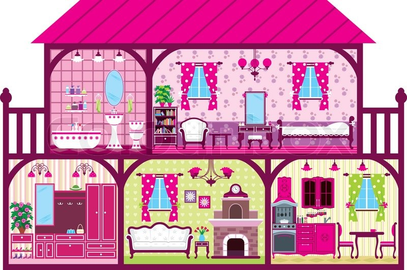 House For The Girl In A Cut Stock Vector Colourbox