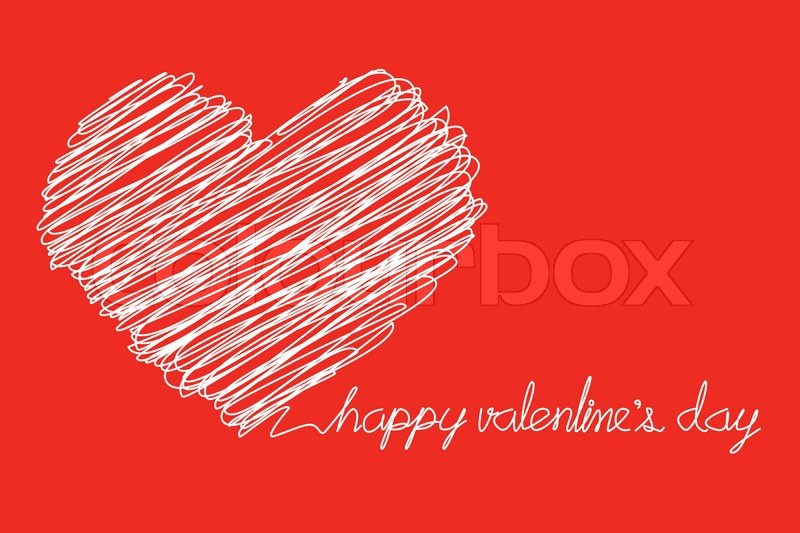 scribble sketch of heart and happy valentines day text stock vector colourbox - Happy Valentines Day Text