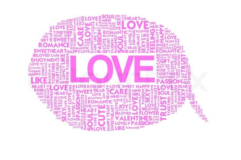 Love Valentine Word Collage On White Background Stock Photo Colourbox