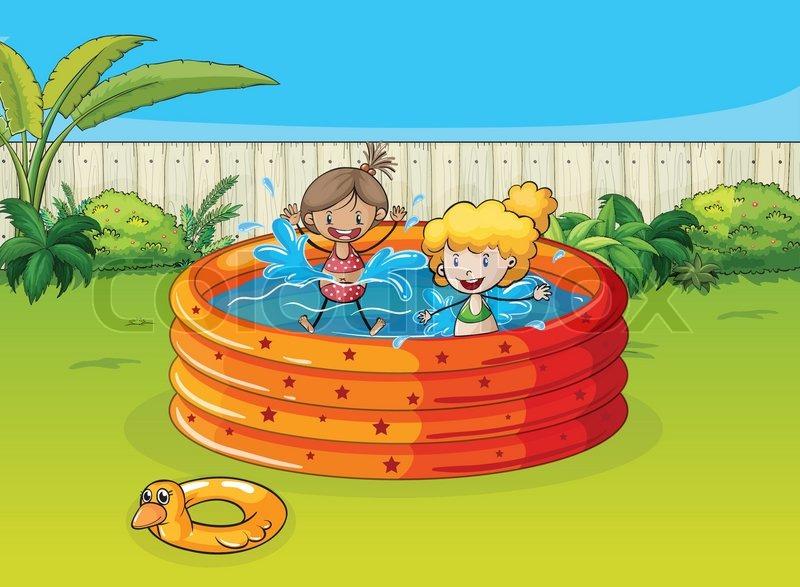 Schwimmbad comic kinder  Mädchen spielen im Schwimmbad | Vektorgrafik | Colourbox