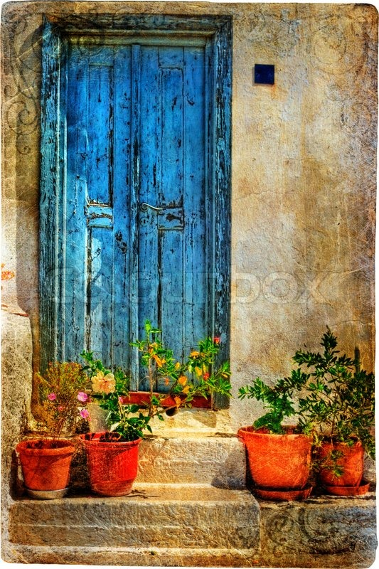Attractive Old doors of Greek islands | Stock Photo | Colourbox WV55