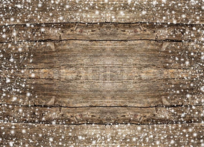 Rustic Wooden Background With Snowflacke Stock Photo