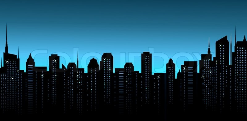Dark Night City Background With Business Office And Many