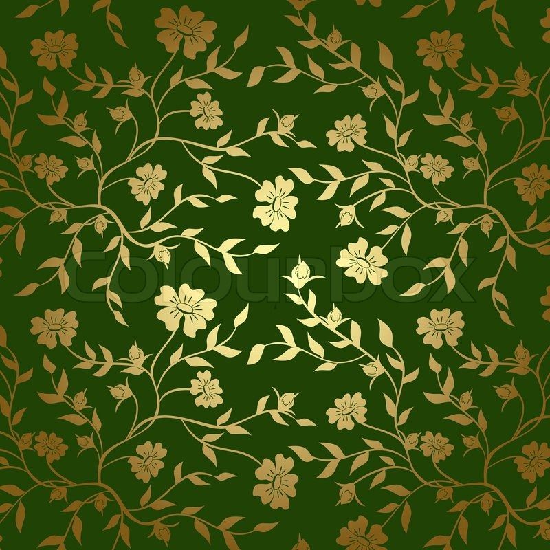 Green And Gold Floral Texture For Background
