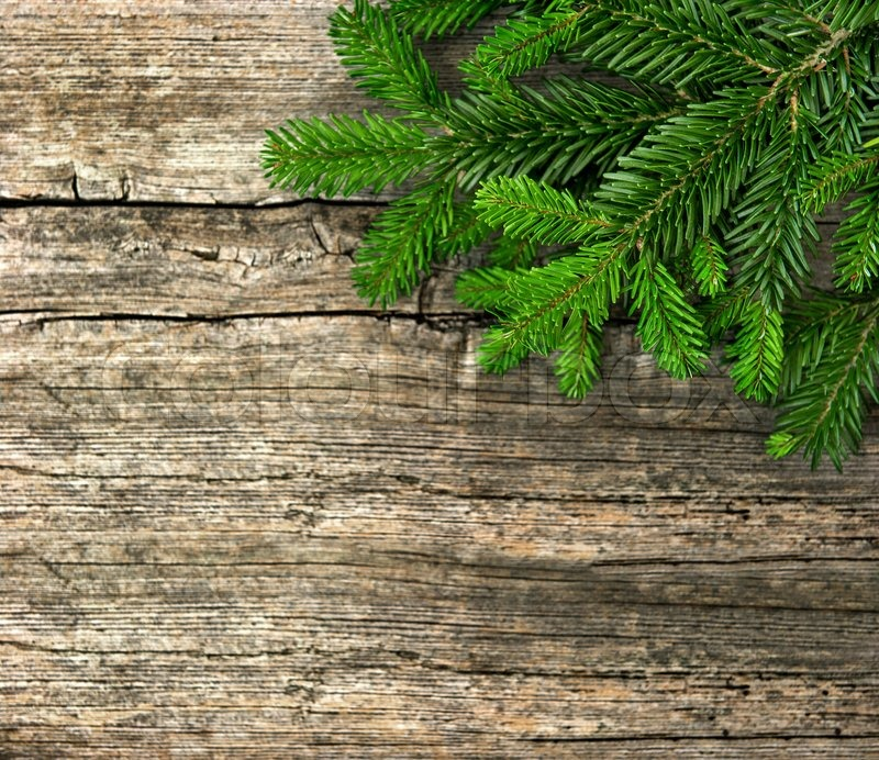 Fir Tree Branch On Rustic Wooden Background Christmas Decoration