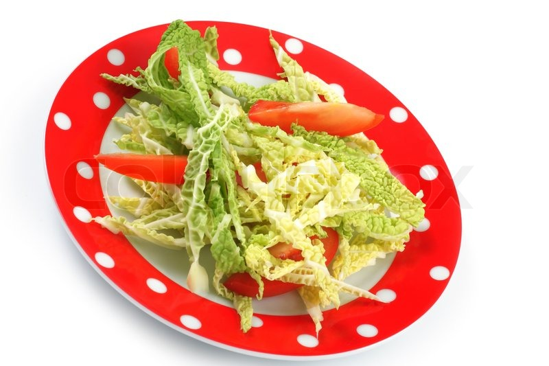 salat wirsing und tomaten in aplate stockfoto colourbox. Black Bedroom Furniture Sets. Home Design Ideas
