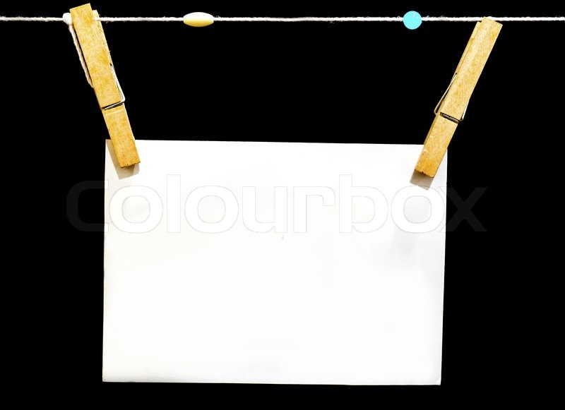 Blank paper with wood clip isolated on black background – Blank Paper Background