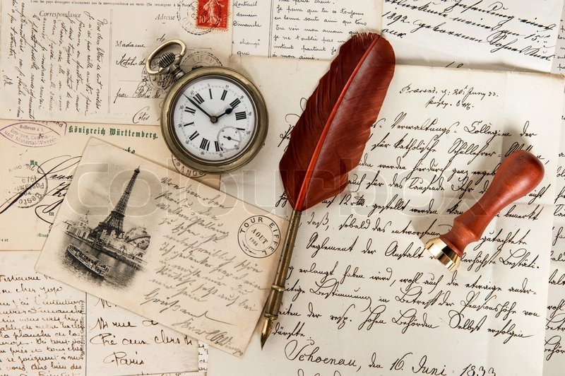 Alte Briefe Französisch Postkarten Stockfoto Colourbox