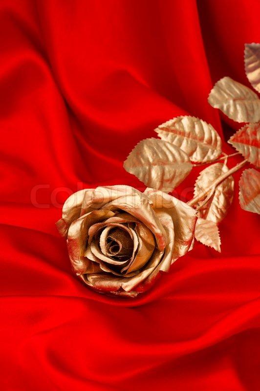 Golden Rose Flower Over Smooth Red Satin