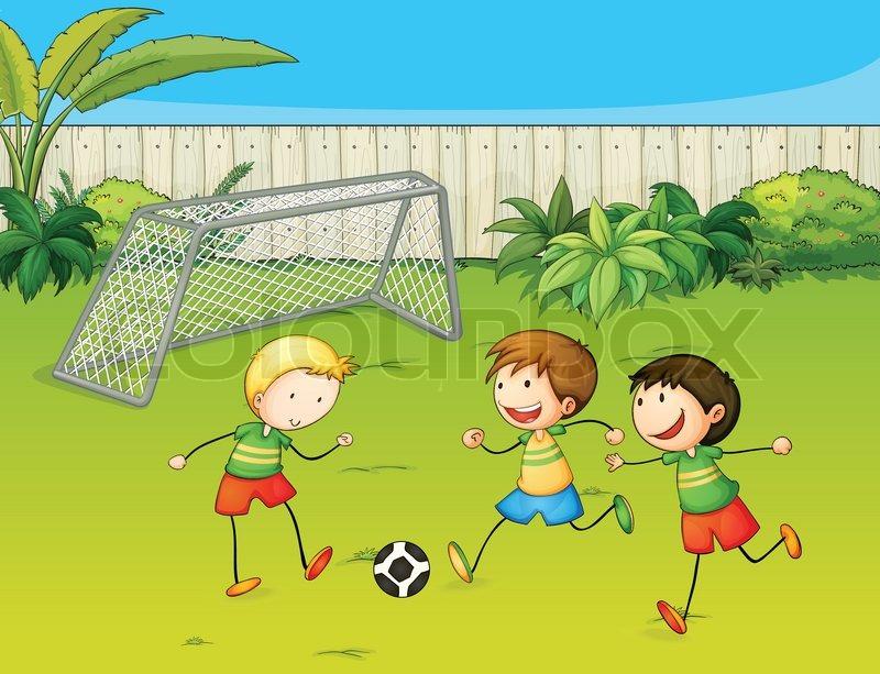 Kids Playing Football On Ground
