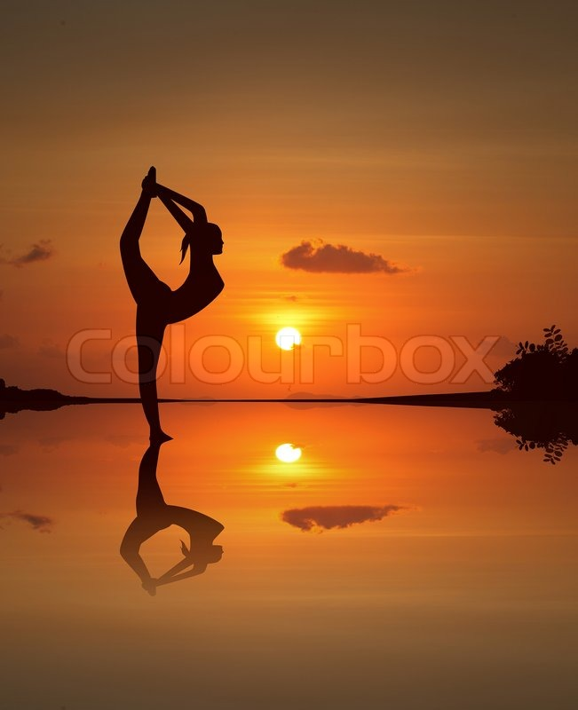 Silhouette Of A Beautiful Yoga Girl On   Stock Image -6367