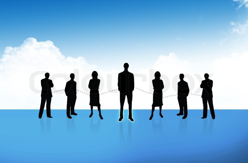 Group of business people standing against earth and world map blue group of business people standing against earth and world map blue background stock photo colourbox gumiabroncs Gallery