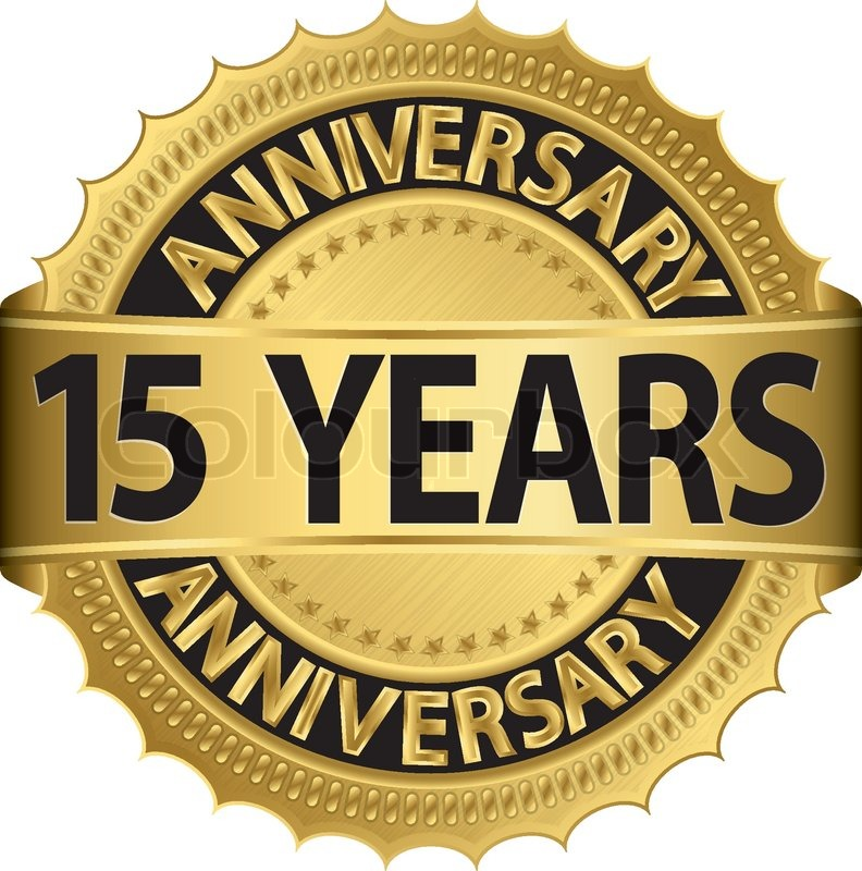 15 Years Anniversary Golden Label With Ribbon Vector Illustration