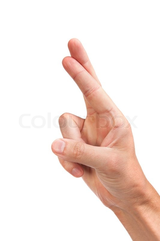 Crossed fingers symbolizing good luck isolated on white ...