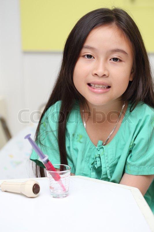 Sick Asian Little Girl In Hospital  Stock Photo  Colourbox-5243