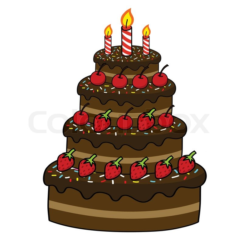 Cake Images Veer : Cartoon cake hand drawing Stock Vector Colourbox