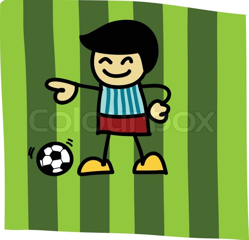 Hand Writing Soccer Player On Football Stock Vector Colourbox