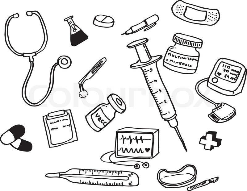 Vector of doctor 39 s tools collection stock vector colourbox for Doctor bag craft template