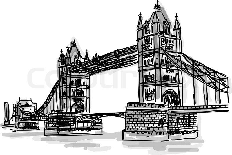 Line Drawing London : Vector world famous landmark collection bridge tower