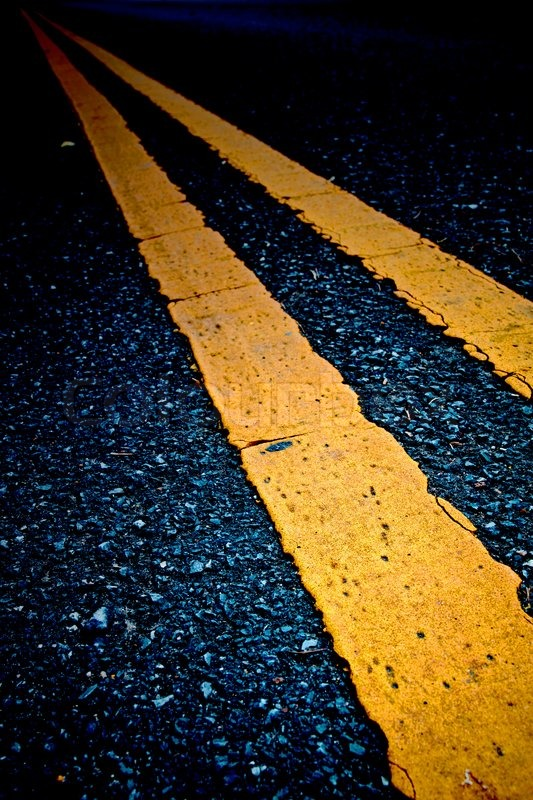 Road Marking Double Yellow Lines Stock Photo Colourbox