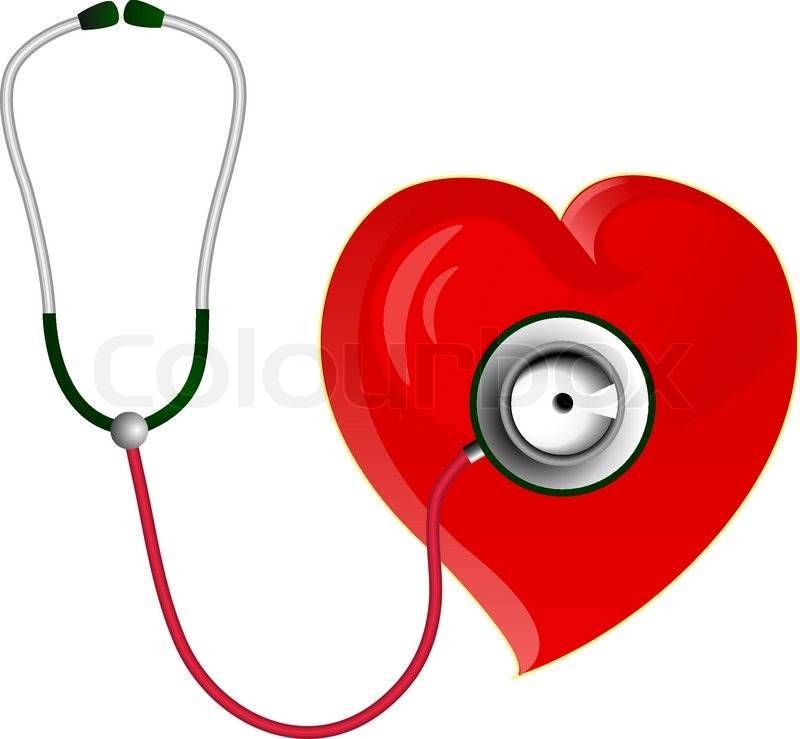 Red Heart With Stethoscope Stock Vector Colourbox