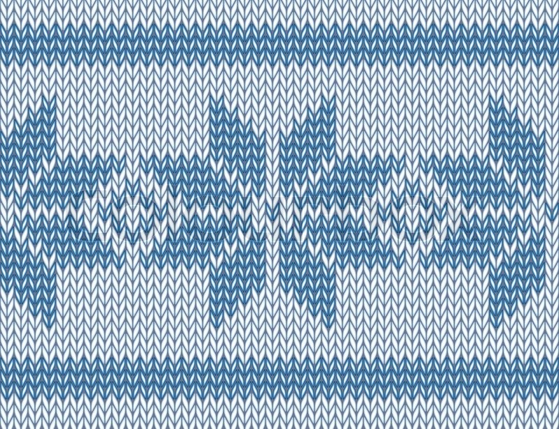 Seamless Knitted Pattern With Blue Snowflakes Vector Illustration
