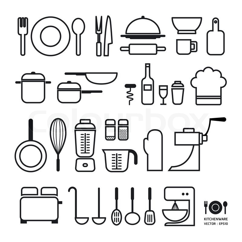 Kitchen Tool Icons Collection Can Be Stock Vector