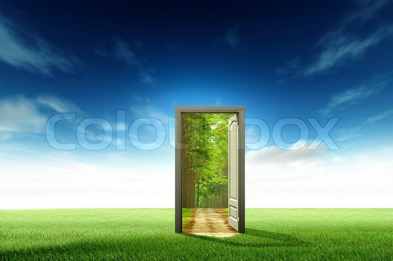 Door open to the new world for environmental concept and idea stock photo & Door open to the new world for environmental concept and idea ...