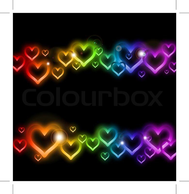 Rainbow Heart Border With Sparkles Vector Stock Vector