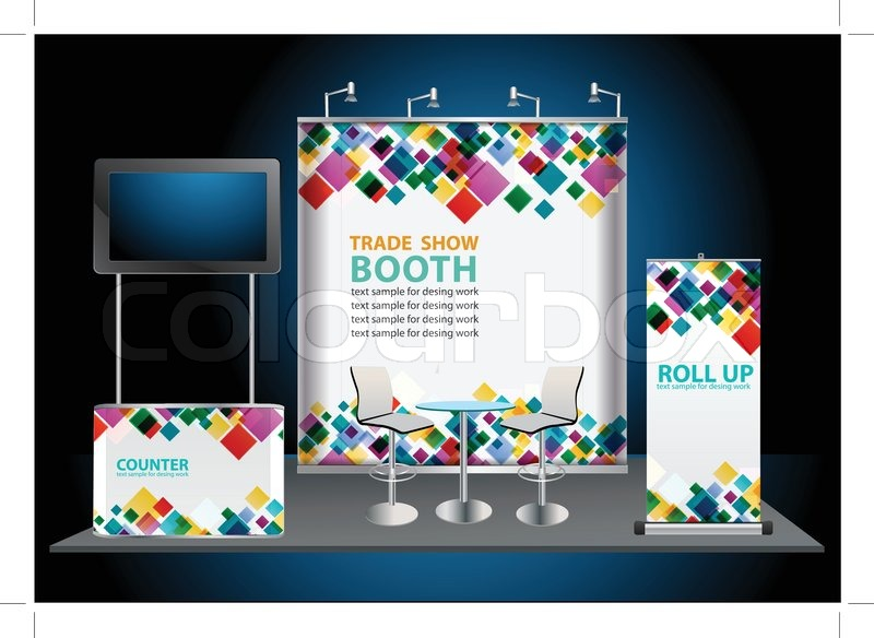 Trade Show Booth Banners : Vector blank roll up banner display with trade show booth