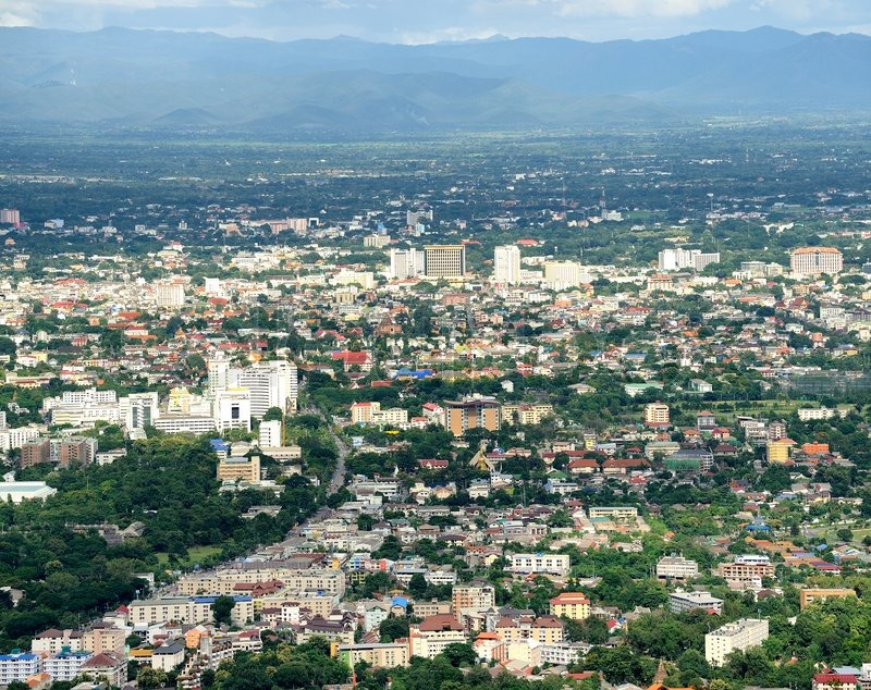 Chiang mai City : High angle view Planning Thailand, stock photo