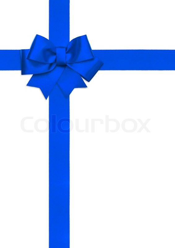 Blue ribbon bow isolated on white | Stock Photo | Colourbox
