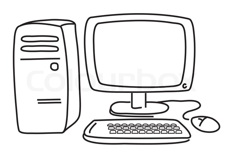 vector computer on white