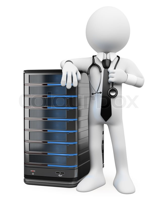 3d White People System Administrator Stock Photo Colourbox