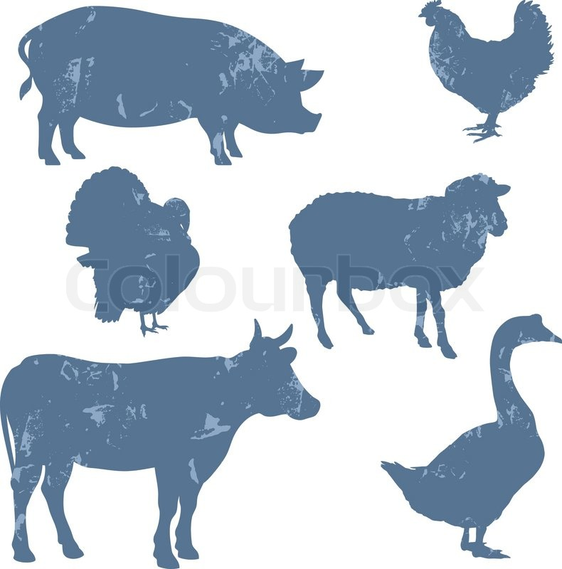 Farm Animals Vector Silhouettes Grunge Style Stock