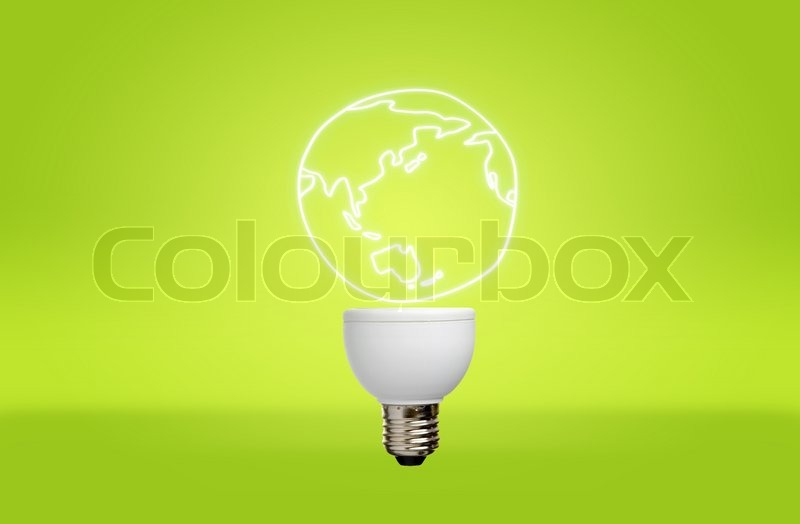 Lamp with light earth for green eco concept, stock photo