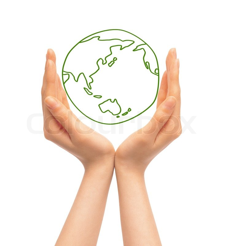 Hands And Earth Symbol Of Environmental Protection Stock Photo