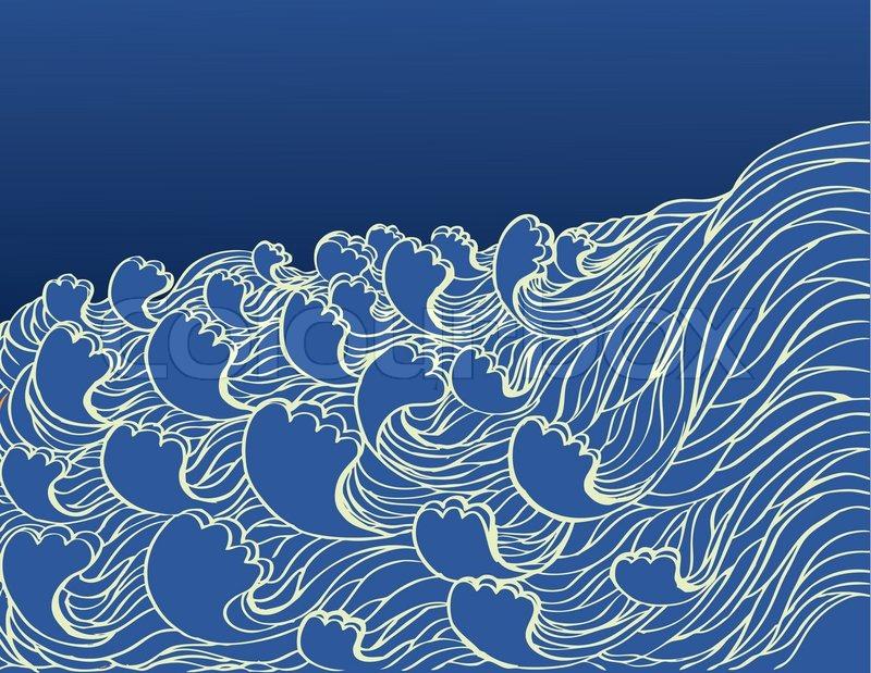 Abstract sea waves Vector illustration of sea landscape