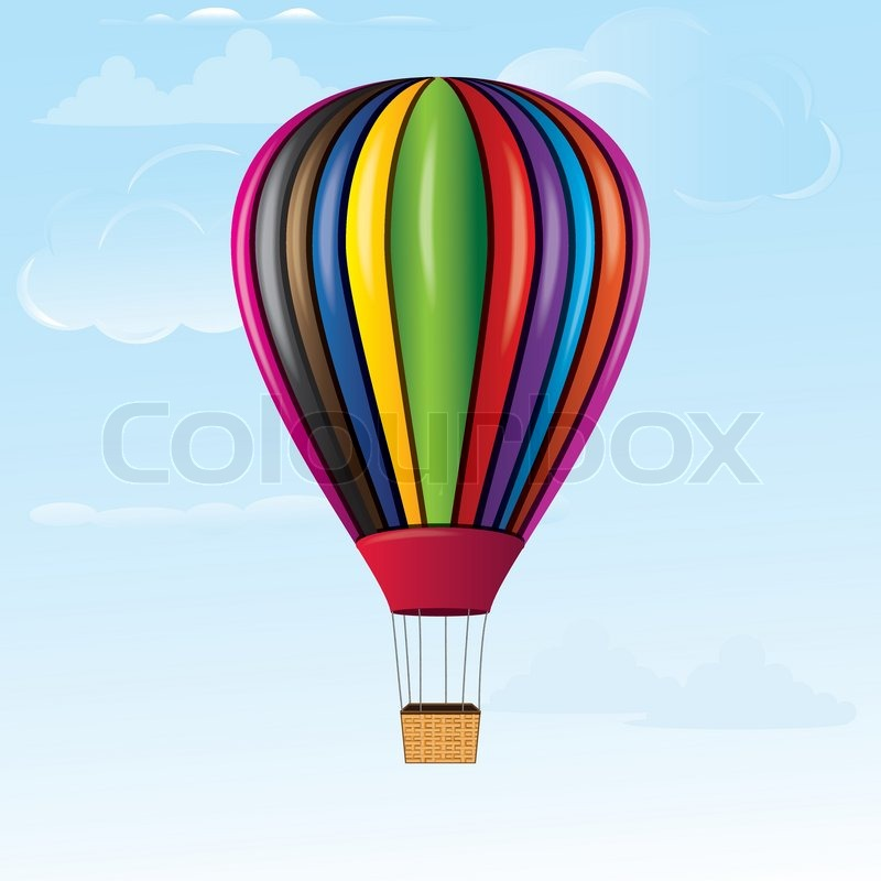 Hot air balloon in sky with bamboo basket texture ...