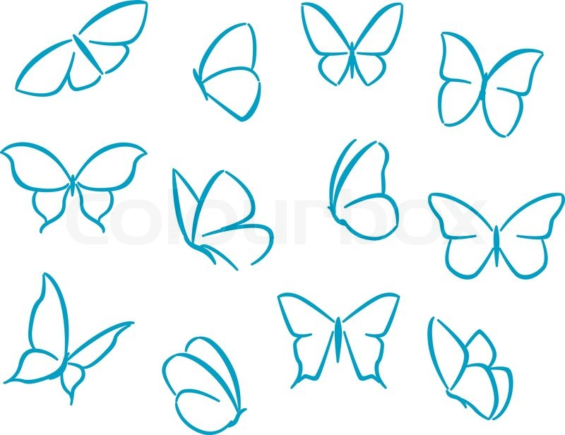 Butterflies silhouettes for symbols, icons and tattoos ...