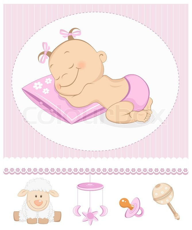 Sleeping Sweet Girl Arrival Stock Image Colourbox
