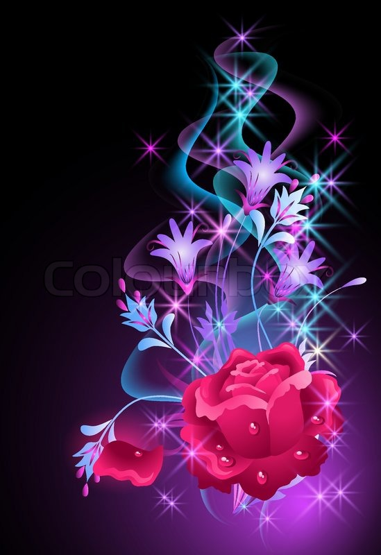 glowing background with smoke and rose stock vector